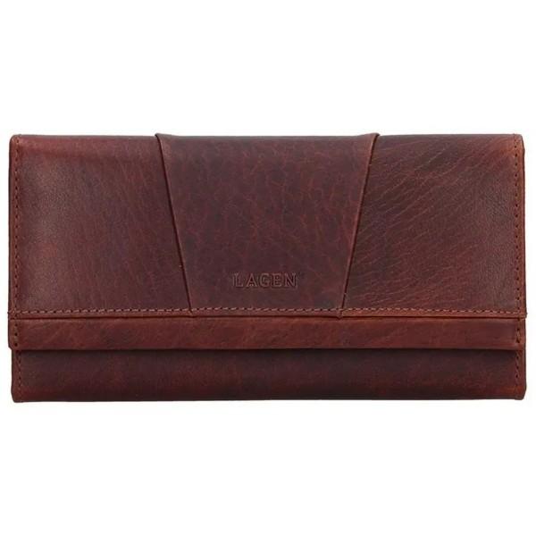Lagen dámská peněženka kožená červená s černou výšivkou 6011/t