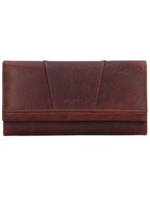 dámská peněženka kožená červená s černou výšivkou