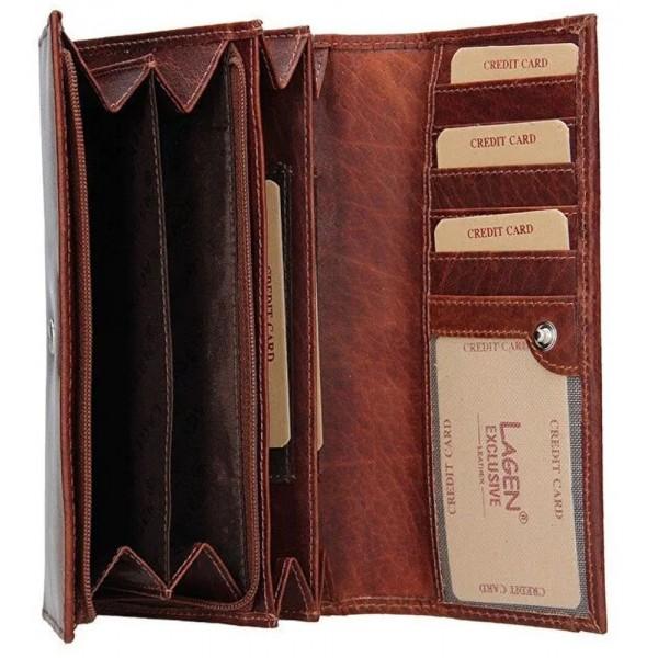 Lagen dámská peněženka kožená vínová s černou výšivkou 6011/t