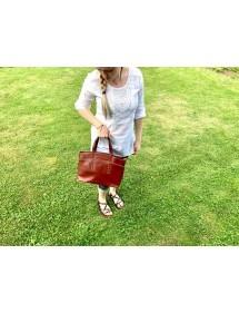 Dámska peňaženka kožená červená/čierna