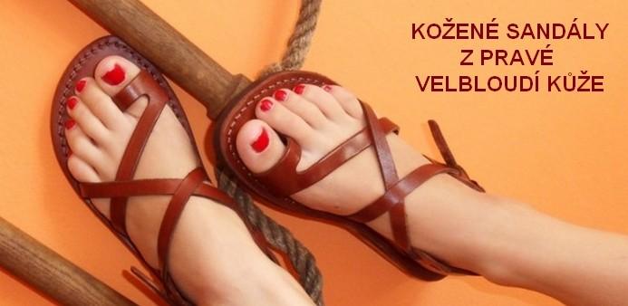 Kožené sandály z pravé velbloudí kůže